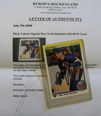 New+York+Islanders+Mick+Vukota+Autograf